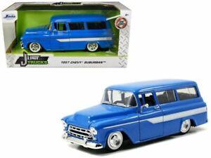 1:24 1957 Chevrolet Suburban -- Blue w/White Stripes -- JADA