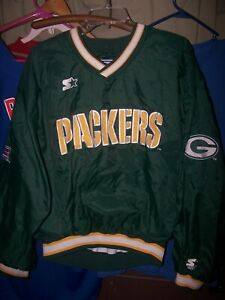 GREEN BAY PACKERS NFL PRO LINE STARTER PULLOVER JACKET SIZE L - PRE-OWNED