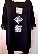Bobbie Brooks Woman 18/20 Black Knit Sweater animal patch Trim Fringe Sleeves