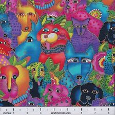 Laurel Burch Dogs & Doggies PACKED BRIGHT Multi Metallic Fabric By the FQ 1/4 YD