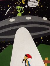Original Painting UFO Alien Abduction Nike,Holy Bible Looks To Be Signed *Ozlee*