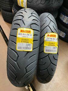 120/70ZR17 & 160/60ZR17  Pirelli Diablo Strada  Motorcycle Tyres Matched Pair