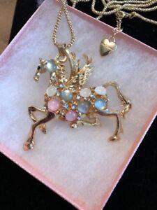 Betsey Johnson Necklace Pegasus Horse Mythical Gold Colorful Beautiful Gift Box