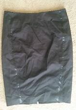 Sportscraft signature satin trim pencil skirt black sz12 BNWT free post D51