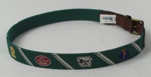 Polo Ralph Lauren Varsity Football Green Silk Leather Canvas Belt NWT