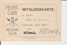 Neckarsulm - Fechtclub Mitgliedskarte 1927 223.892