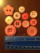 Lot Of 12 Assorted Pink Resin Buttons. #8