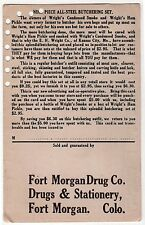 1920s FORT MORGAN DRUG COMPANY Stationery COLORADO Wright's Ham Pickle BUTCHER