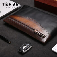TERSE Men's Handmade Patina Style Genuine Italian Leather Carved Clutch Bag Case