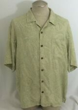 *Men's Tommy Bahama Hawaiian Aloha Silk Shirt Lime Paisley Monotone Size XL EUC
