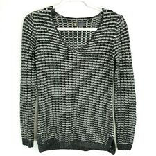 I Jeans By Buffalo Womens Knit Black White Scoop Neck Pullover Sweater Sz Small