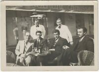 Well Dressed Businessmen & Waiters at Outdoor French Cafe Vintage Snapshot