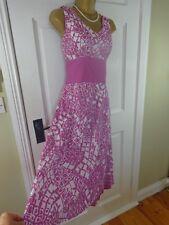 Kaliko Pink Patterned 100% Cotton Lined Dress, UK 14, Excellent Cond REDUCED