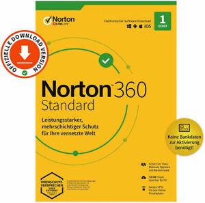 NORTON 360 Standard 2021 1 Gerät 1 Jahr KEIN ABO SOFORT PER EMAIL TOP