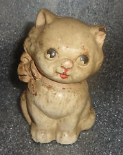 old cast iron Hubley seated cat  still bank pink bow