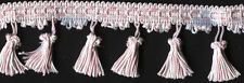 "2&1/2"" Pink & White Tassel Fabric Fringe Upholstery Trim 12 Yards Embellishment"
