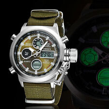 Mens Military Quartz Army Watch Green Dial Date&Week Luxury Sport OHSEN Watches
