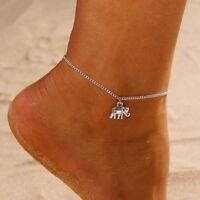 Retro Lady Anklet Bracelet Charm Elephant Pendant Leg Chain Women Foot Jewelry