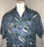 Guy Harvey Bluewater Mens XL  Hawaiian Camp Shirt Light Blue Swordfish 100% Silk