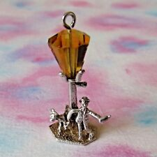 VINTAGE SILVER DRUNK ON LAMP POST WITH DOG CHARM
