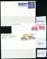 LOT 75127  CANADA UX110 -  UX119 UNUSED POSTAL STATIONERY CARD