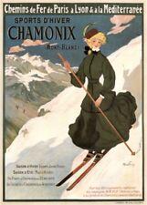Vintage Ski Posters CHAMONIX MONT-BLANC, France, 1905, Travel A3 Print