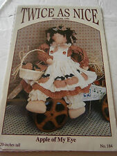 "Twice As Nice Apple Of My Eye 20"" Primitive Cloth Doll Dress Sewing Pattern NEW"