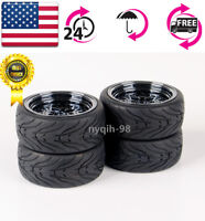 4X 1:10 Rubber Tires Rims For HSP HPI RC Flat Racing On-Road Car 12mm Hex Set