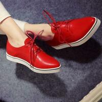 New Vogue Womens Pointed Toe Lace Up Slip On Flat Casual Loafers Shoes Sneakers