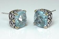Balinese Designer Aquamarine CZ Filigree Silver Gold 18KGP Earrings