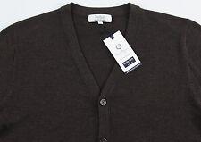 Men's TURNBURY Brown Merino Wool Cardigan Sweater L Large NEW NWT F45SR750