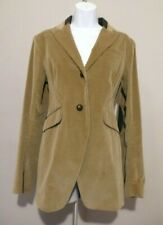 THEORY Equestrian Brown Jacket Blazer Lamb Leather Collar/Elbows Patches Sz 10