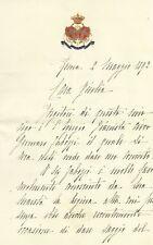 Lettera Autografo Marchesa Paola Pes di Villamarina Casa di Sua Maestà 1892