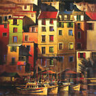 """27W""""x27H"""" MEDITERRANEAN GOLD by MICHAEL O'TOOLE - BOATS PARKED ON PORT CANVAS"""
