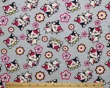 SNUGGLE FLANNEL* KITTY CAT w/BOW TIE,  FLOWERS on GRAY* 100% Cotton Fabric BTY