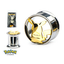 Pokemon Pikachu 316L Stainless Steel Double Flared Tunnel Plug (Sold as Pair)