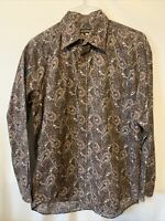 Mens Stetson Western Brown Paisley Long Sleeve Cowboy Rodeo Shirt Size XL NICE