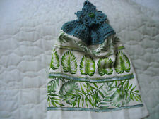 New listing Crocheted Blue Top Handmade Terrycloth Kitchen Towel W/Leaf Design