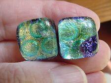 sparkle Dichroic glass pierced earrings (De22-19) Green yellow bubble circle dot