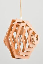 DASTAN Modern Wood Ceiling Light Geometrical Hexagon Lamp Shade Pendant Loft