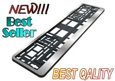 NEW SILVER CHROME EURO LICENSE PLATE TAG HOLDER MOUNT ADAPTER BUMPER FRAME