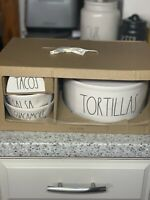 NEW Rae Dunn  Salsa & Guacamole Bowl Tortillas Tacos GIFT SET *FREE SHIPPING *