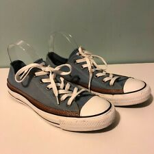 Converse All Star Pale Blue Canvas Trainers Brown Leather Trim Size 8