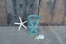 Turquoise Metal Candle Lantern with Glass & Handle ~ NAUTICAL HOME DECOR ~ New