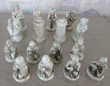 32 Pièces pour jeu d'échecs céramique émaillée, intérieur creux Sans plateau