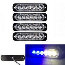4Pc 6-LED Light Flash Emergency Car Vehicle Warning Strobe Flashing Blue / White