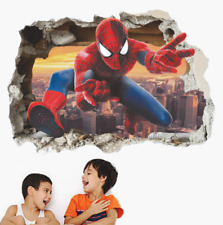 Spiderman Broken Wall Stickers For Kids Rooms Wall Decals Home Decor 3D Effect