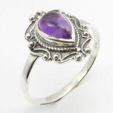 925 Sterling Silver Natural Amethyst Tibetan Ring Size 11.75 Ladies Fashion