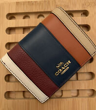 New coach small 76295 oxblood multi  Snap Wallet With Patchwork Stripes