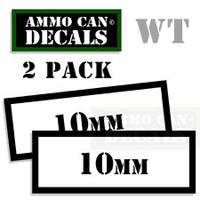 10MM Ammo Decal Sticker Set bullet Can Box Gun safety Hunting labels 2 pack WT